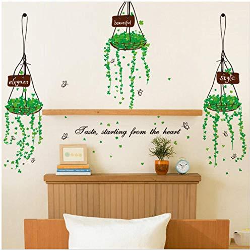 Einfache Art grüne Pflanze hängen Korb Wandaufkleber Fenster Aufkleber Moderne Kunst Wandbild Shop Glastür und Fenster Aufkleber