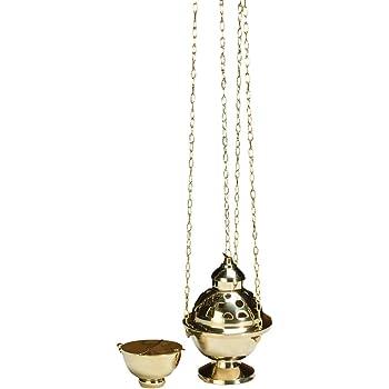 Round Single Chain Censer Brass Incense Burner 8 Inches High CB Catholic