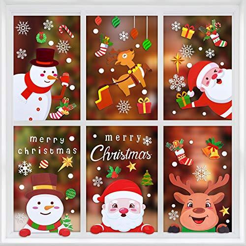 MELLIEX Fensterbilder Weihnachten, Weihnachtsdeko Fensteraufkleber PVC Fensterdeko Fenstersticker Selbstklebend Fensterfolie für Türen Schaufenster Vitrinen Glasfronten Deko
