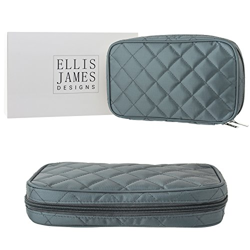 Ellis James Designs Travel Jewelry Organizer Elegant Pouch Bag with Quilted Exterior and Padded for Protection - Keeps Your Earrings, Necklaces and Other Treasures Neat and Secure - Grey