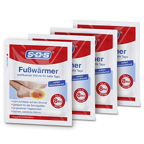 SOS Fußwärmer (4 Paar) Wärmepads zur Anwendung im Schuh | Schuhwärmer | Wärmeeinlagen | Bis zu 8 Stunden Wärme