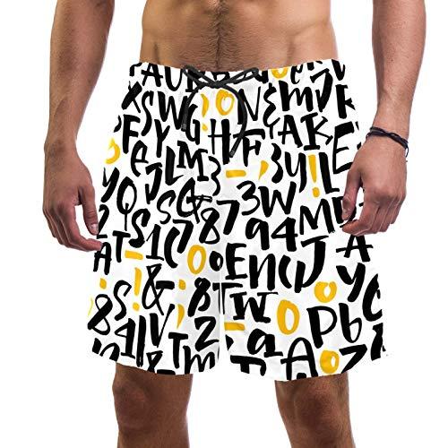 ATOMO Pantalones cortos de natación ABCPattern lindo casual surf playa pantalones cortos de secado rápido - - X-Large