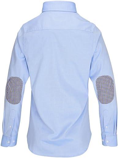 ALLBOW Hombre Camisas Formales con Parches en los Codos, Regular Fit, Azul