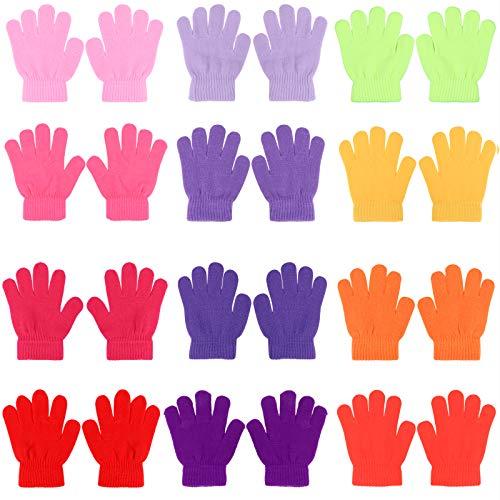 QKURT Kinder Winter Handschuhe,12 Packungen volle Finger Strickhandschuhe Kinder Winterhandschuhe zum Pendeln Beim Skifahren