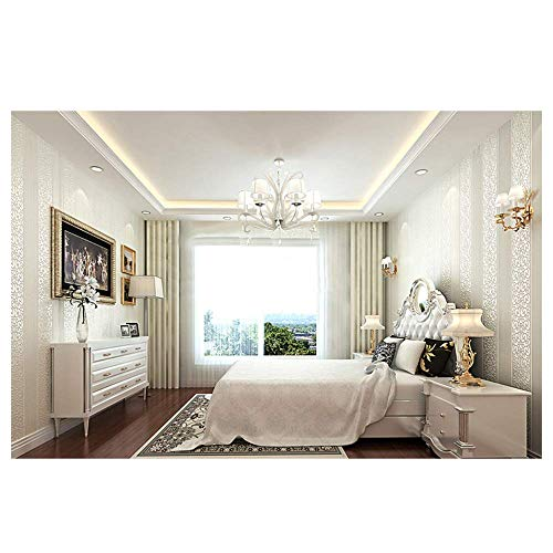 YAOHM Shimmer Damas rayé Papier Peint Chambre Moderne Texture gaufrée Mur Rouleau de Papier Décoration d'intérieur,Pin