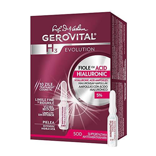 Gerovital H3 Evolution, Viales antiedad con 5{ac553f93ef75e028053d2155c247366bb8ddb8a936b95112c6ef974111c33c58} de ácido hialurónico de hidratación intensiva, Tipo de piel: Para todo tipo de pieles., 2 ml x 10