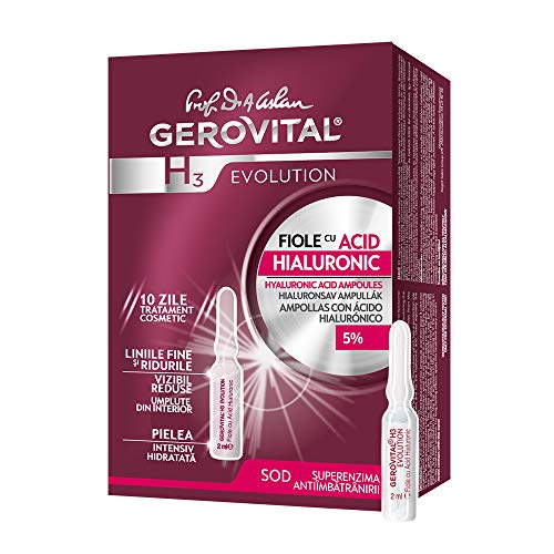 Gerovital H3 Evolution, Viales antiedad con 5% de ácido hialurónico de hidratación intensiva, Tipo de piel: Para todo tipo de pieles., 2 ml x 10