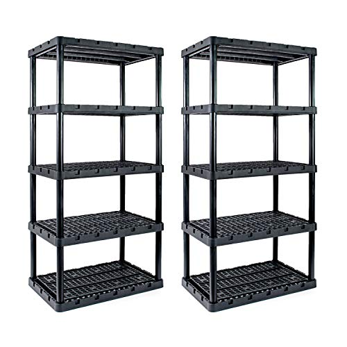 Wisechoice 5 Shelf Heavy Duty Utility Plastic Freestanding Ventilated Shelving Unit   Holds up to 750 Lbs, Black
