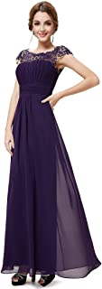 Ever-Pretty Women's Elegant Empire Waist with Lace Cap Sleeves A Line Floor Length Long Chiffon Bridesmaid Dresses 09993
