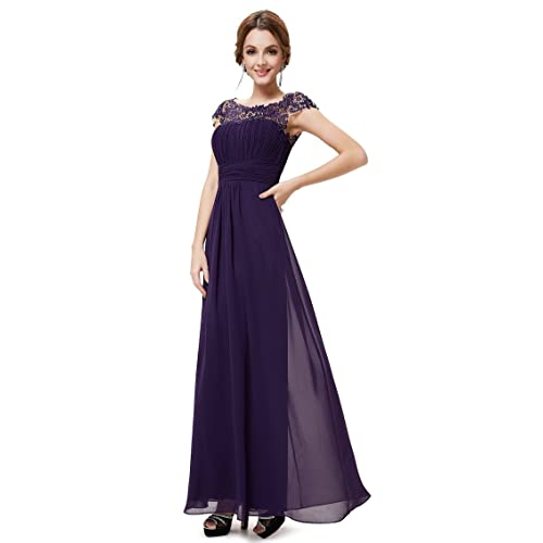 a852f2bdb Ever Pretty Women's Lacey Neckline Open Back Ruched Bust Evening Dress 09993