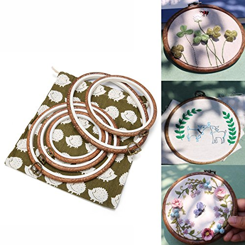 ARTISTORE 5 Pieces Embroidery Hoops Cross Stitch Hoop Embroidery Circle Set with Storage Bag for Art Craft