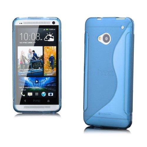 HTC One M7 | iCues S-Line TPU turquesa | Transparente lámina protectora caso de la piel Claro Claro gel de silicona transparente de protección [protector de pantalla, incluyendo] Cubierta Cubierta Funda Carcasa Bolsa Cover Case