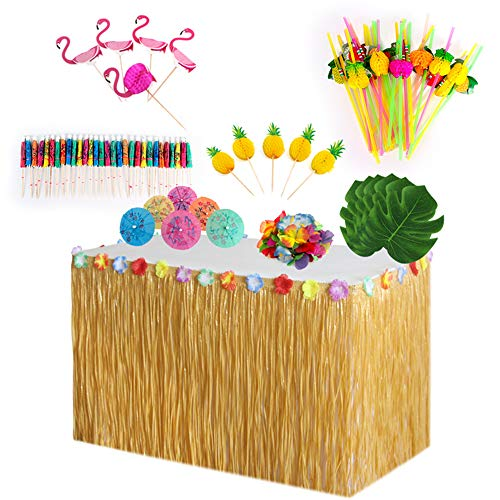 TsLinc Hawaiian Party Decorations Set,Tropical Party Decoration,Luau Grass Table Skirt with Hawaiian Garlands 3D Paper Straws Hawaiian Flowers and Palm Leaves for Luau Party Decorations