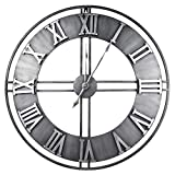 [Thicker Updated] 24' Premium Oversized Wall Clock Industrial LOFT Decor Wall Clock Brushed Metal Wall Clocks for Living Room Kitchen Office (60CM Roman-Silver)