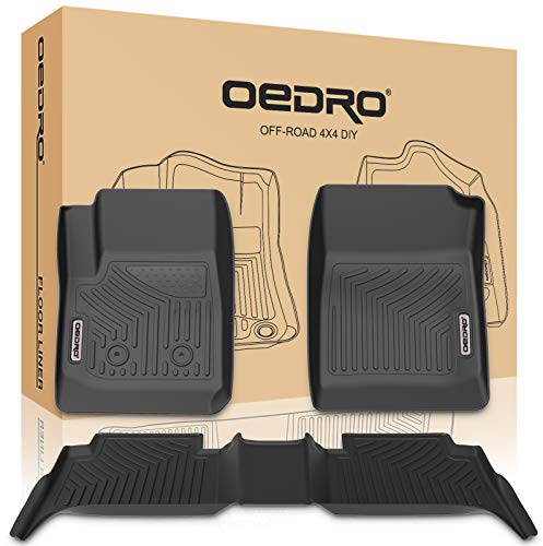 oEdRo Floor Mats Compatible for 2015-2020 Chevy Colorado Crew Cab/GMC Canyon Crew Cab, Unique Black TPE All-Weather Guard Includes 1st and 2nd Row: Front, Rear, Full Set Liners