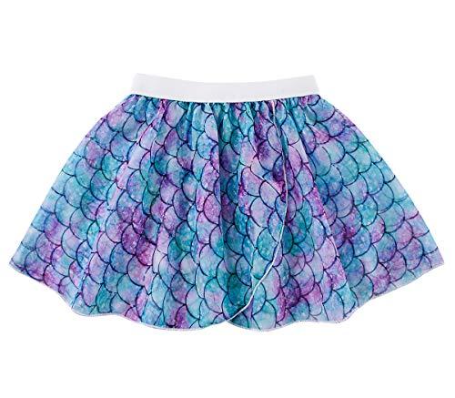 Fanient Kids Ballet Wrap Skirt for Girls Mermaid Print Dance Skirts Chiffon Dancewear