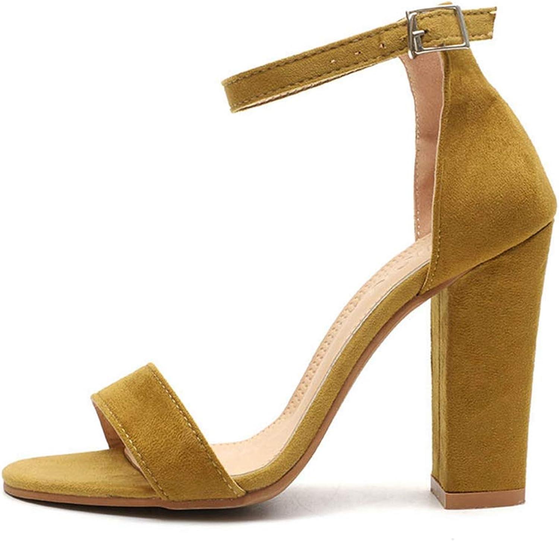 Sandals for Women Summer Square Flock High Heel Buckle shoes Fashion Ladies Girl Dress Sandal