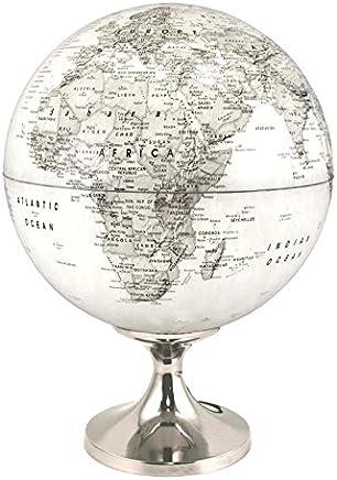 Globe 28 cm pol. grijs verlicht