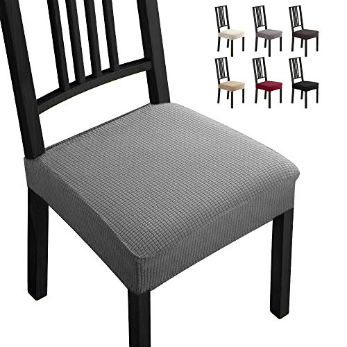 Fundas para sillas Pack de 4 Fundas sillas Comedor Fundas elásticas,Fundas de Asiento para Silla,Diseño Jacquard Cubiertas de la sillas,Extraíbles y Lavables-Decor Restaurante(Paquete de 4,Gris)-B