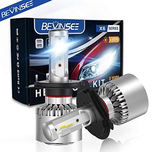 Bevinsee H4 9003 LED Headlights White Bulbs Kit 10000LM 6000K 60W,2pcs