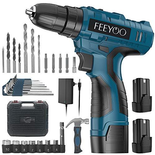FEEYOO Taladro atornillador inalámbrico de 16,8 V, 29 piezas, accesorios con 2 baterías, ajuste de par de apriete de 30 + 1, portabrocas de 10 mm, para tornillos y taladros (pared, madera, metal)