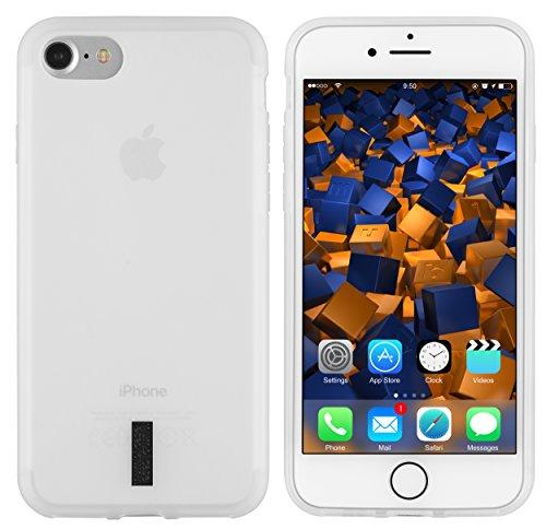 mumbi Hülle kompatibel mit iPhone SE 2 2020/7 / 8 Handy Case Handyhülle, transparent Weiss mit schwarzem Streifen