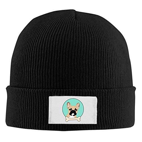 Unisex Skull Beanie Cap - French Bulldog Cuff Knitted Hat - Daily Warm Slouchy Hats Black