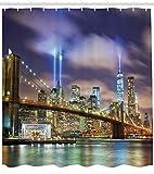 ABAKUHAUS New York Duschvorhang, Manhattan Skyline USA, mit 12 Ringe Set Wasserdicht Stielvoll Modern Farbfest & Schimmel Resistent, 175x200 cm, Lila Grün