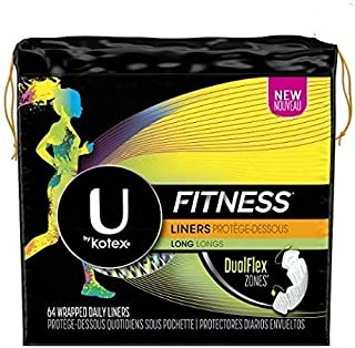 U by Kotex Fitness Liners Long, 64 Wrapped Daily Liners (Pack of 2)