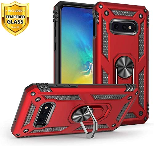 Case for Samsung Galaxy S10e, Galaxy S10e Phone case, Suordii Military Armor Dual Layer Cover with Tempered Galss Screen Protector, 360 Degree Ring Grip Holder Stand (Red)