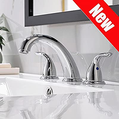 Chrome Widespread Bathroom Sink Faucet 8 Inch 3 Pieces 2 Handles High-Arc With Full-Copper Pop Up Drain And Valve By PHIESTINA, WF008-5-C