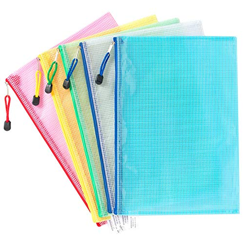 Mesh File Bag 5 Stück A4 Dokumentenmappe Plastic Zipper Tasche Zip Beutel Mesh Bag Reißverschlussbeutel Mesh Bag Farbig Für Schule Büro Kosmetik Quittungen Lagerung Hausaufgaben Aufbewahrung