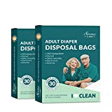 Sirona Premium Adult Diaper Disposal Bags - Pack of 60 | Nature Friendly Odor Sealing Bags for Discreet Disposal of Adult Diapers, Baby Diapers and Feminine Hygiene Products | Travel Friendly Bags