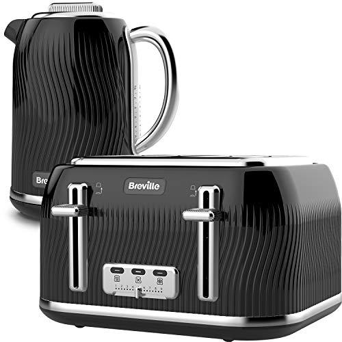 Breville Flow Kettle & Toaster Set with 4 Slice Toaster & Electric Kettle (3 KW Fast Boil), Black