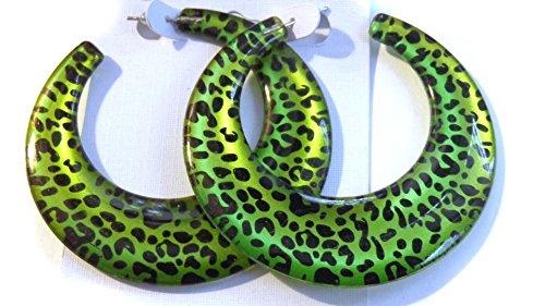 Leopard Spot Hoop Earrings Green Leopard Spot Hoops 2.5 Inch Hoops Green Hoops