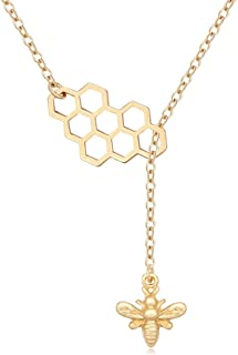 Geometric Bee Hive with Honey Bee Lariat Y Necklace Mother's Day Jewelry Gift