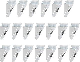 Sayayo - Soporte para estante de cristal en ángulo recto con base de ventosa fijación de tornillo acabado cromado 20 un...