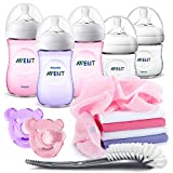 Philips Avent PP Flaschen Starter Set Mädchen - 5 Baby Fläschchen (260 + 125 ml) mit Naturnah Sauger, 2 Schnuller, Flaschenbürste und Mullwindeln - Rosa