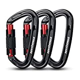 DYNASQUARE Auto Locking Carabiner Clips, Rock Climbing Carabiner Twist Lock, 3 Pack, 24KN(5400 lbs), Great for Climbing, Mountaineer, Hammock, Camping, Outdoor Equipment (Black/Red, 3PCS-24KN)