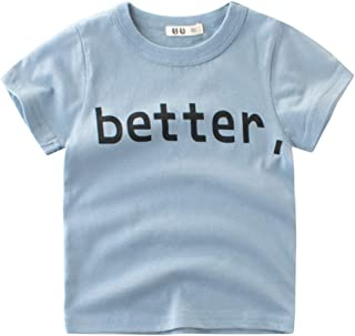 Anself Short Sleeve Cotton T-Shirt For Boy Girl Round Neck Tops Summer Kids Clothes BETTER Letter Printing Shirt Tee Blue 100