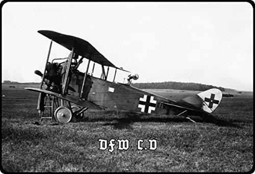 Metalen bord 20 x 30 cm gewelfd Duitse vliegtuig Werke DFW C.V decoratief geschenk bord