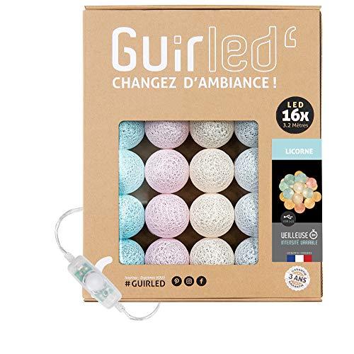 Guirnalda luminosa bolas de algodón LED USB- Luz de noche para bebé 2h - Adaptador de corriente dual USB 2A incluido - 3 intensidades - 16 bolas 3,2m - Unicornio