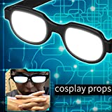 LED Luminous Glasses Anime Role Playing Two-dimensional Glasses Adult Prank Glasses Props Halloween Carnival Party Luminous Glasses White