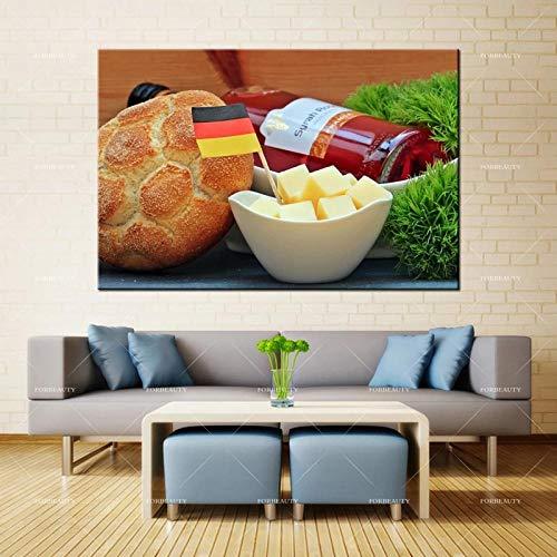 WJY Forbeauty Pintura al óleo sobre Lienzo Queso Vino Bandera Alemania Bollo fútbol impresión en Aerosol decoración del hogar 60x90cm Sin Marco