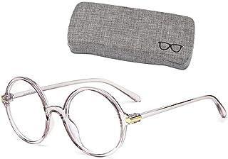 WODISON Classic Round Blue Light Blocking Glasses Men Women Anti-Fatigue Anti-blue Ray Big Eyeglasses with Box