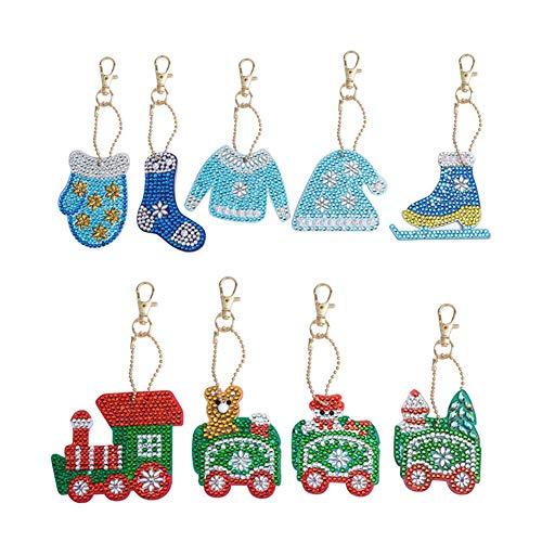 Jestang - Juego de llaveros de diamante para pintar por números, diseño de mosaico de diamantes de imitación para hacer arte decorativo para el tren de Navidad y ropa de adultos, 9 piezas