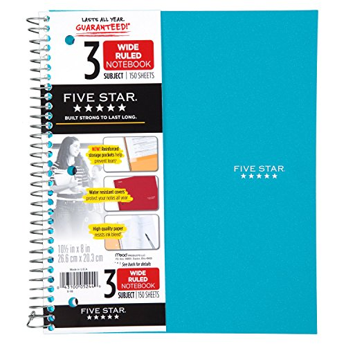 Five Star Spiral Notebook, 3 Subject, Wide Ruled Paper, 150 Sheets, 10-1/2' x 8' Sheet Size, Teal (73184)
