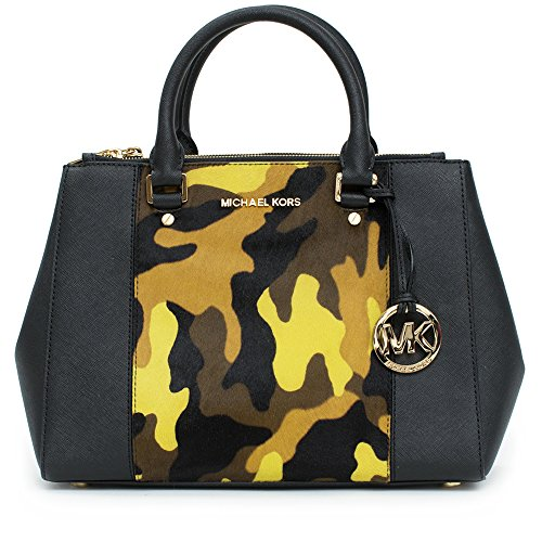 """Golden hardware. Tote handles; 4"""" drop. Buckled shoulder strap. Hanging MK circle logo charm. Michael Kors logo on top center. Inside,one zip and four open pockets. 14""""H x 10""""W x 5""""D. Imported. Dustbag"""