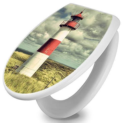 banjado Toilettendeckel mit Absenkautomatik | WC Sitz 44cm x 5cm x 37cm | Klodeckel weiß | Klobrille mit Edelstahl Scharnieren | Toilettensitz mit Motiv Leuchtturm Sylt