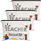 3 Pieces Makeup Bags Travel Cases Teacher Supplies for Classroom Personalized Cosmetic Cases Teacher Appreciation Gifts for Women (White,Teacher Style)